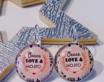 Earrings peace love and mojito