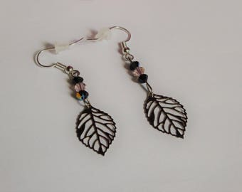 leaf earrings and beads