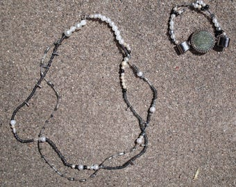 """Combined: double strand necklace and stretch bracelet """"Romantica"""""""