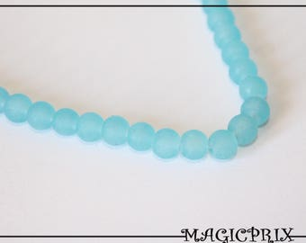 Set of 25 beads 6 mm frosted Turquoise 1479 stained glass