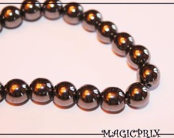 Set of 52 beads Hematite black Ø 8 mm m2191