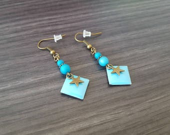 Diamond star Earrings blue