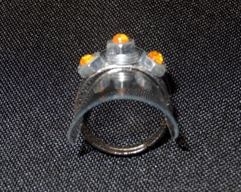 "Whimsical and unique ""nut"" orange color ring"
