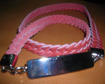 Women leather belt braided 4 strands of pale red. Size 42