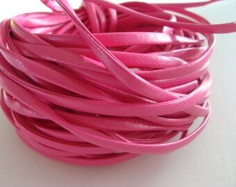 Pink 4 * 2 mm flat leather cords