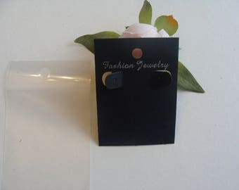 2 support display earring black paper cardboard with plastic packaging