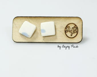 Earrings ceramic small square