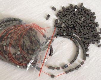 Hematite stone cube beads 4x3mm natural semi precious jewelry