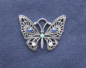 Silver metal blue/turquoise/silver rhinestone Butterfly charm