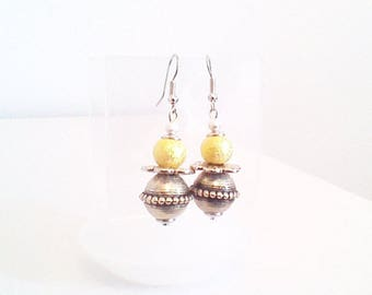 Earrings 'gold beads and silver stem'