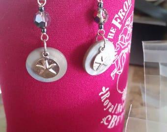 Swarovski Crystal Earrings with Silver Sand Dollars