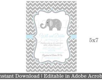 Elephant baby shower invitation | Boy baby shower invitation