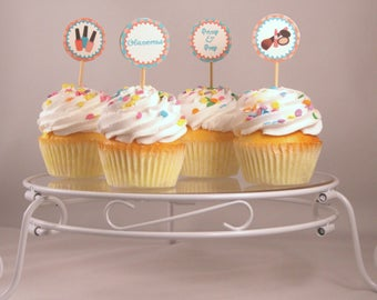 Spa Cupcake Toppers, Spa Party, Beauty Decorations, Party Supplies