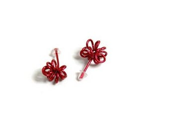 Ear Stud bases red curls - aluminum
