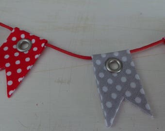 Textile embellishment mini Bunting with polka dots for scrapbooking