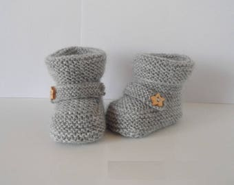 Baby / reborn wool 0/3 month gray wool with rein
