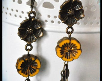 Hanging yellow flower, cluster of leaves and brass Flower Earrings