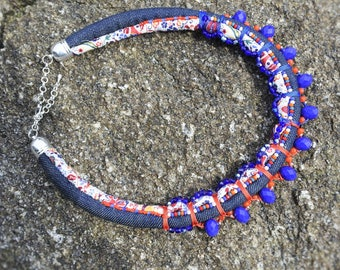 Liberty necklace and jeans, glass beads