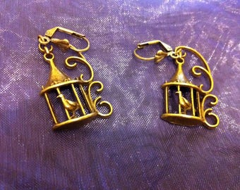 Bronze colored cage earrings
