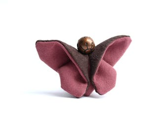 Pink/Brown fabric eco-designed Butterfly brooch