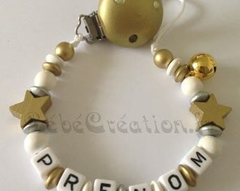 Personalized pacifier Star Gold