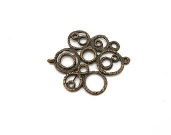 round cross bronze charm connector,
