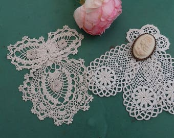 Old lavallières crocheted old ruffly crocheted collars vintage knots vintage antique lavallieres. lace. dream catcher