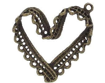 5 pendants heart lace Bronze 33 mm - SC70873-