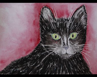 Tabby cat - original painting watercolor, original watercolor painting, cat