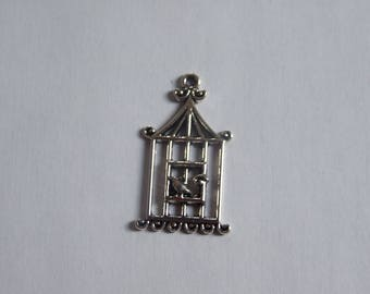 Silver 32x18mm bird cage charm