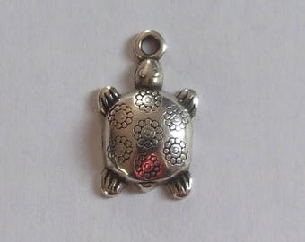 19 x 12 mm silver plated turtle charm