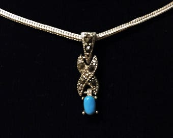 925 Women's Sterling Silver Necklace with Marcasite and Turquoise