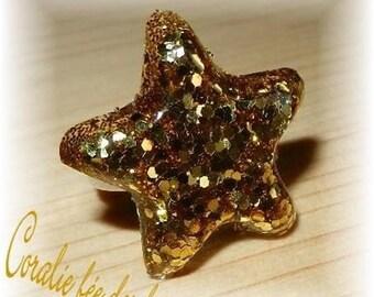 Adjustable ring Star Spangled resin Crystal Gold tones