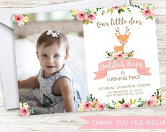 Deer Birthday Invite Photo 7x5 Invitation ANY AGE Girls Pink Floral Watercolor Animal Woodland Doe