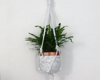 Rope Plant Hanger // Macrame Hanger // Hanging Plant // Office Accessory // Cotton