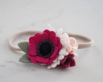 Berry Petite Flower Cluster // Headband or Clip // Felt Flowers