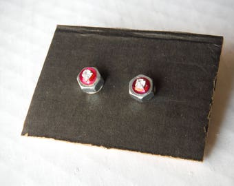 earrings with sequins and rhinestones nut/bolt earrings