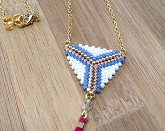 White and blue beadwoven necklaces