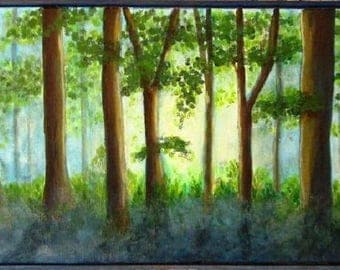 "Acrylic landscape painting ""Brocéliande, out there"""