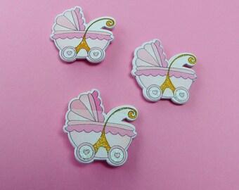 6 stroller pram girl pink wood with adhesive pad