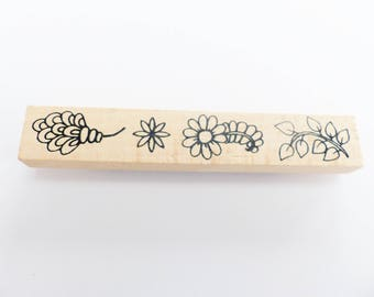 rubber stamp wooden flower and leaf 12 x 2 cm