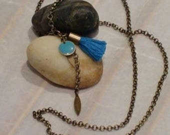 sequin turquoise tassel necklace
