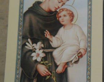 Pious image St. Anthony of Padua 11.5 cm x 6,5 cm