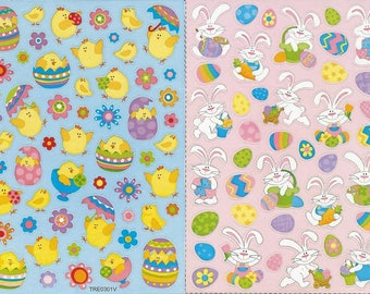 LOT 2 sheets of STICKERS eggs Easter BUNNIES and chicks 13 cm x 9 cm