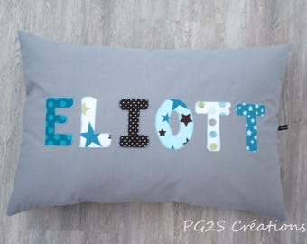additional initials cushion containing 6 to 8 letters