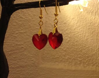 Golden with red heart bead earrings