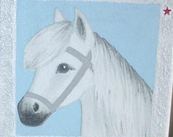 Table napkin white horse collage