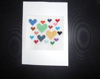 Embroidered on canvas - colorful hearts handmade card