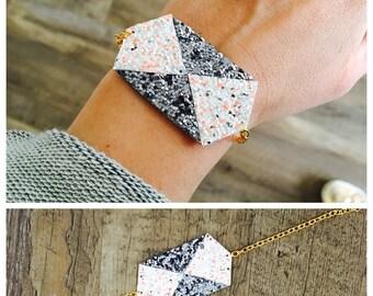 Bracelet sequins: dark grey and orange neon silvery white