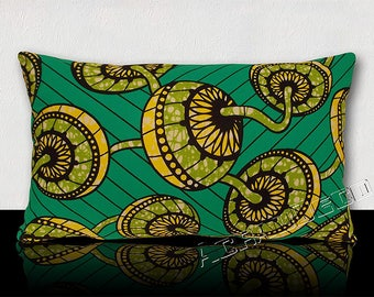 Rectangular cushion genuine WAX African traditional patterns green meadow/yellow/white/black on teal background.